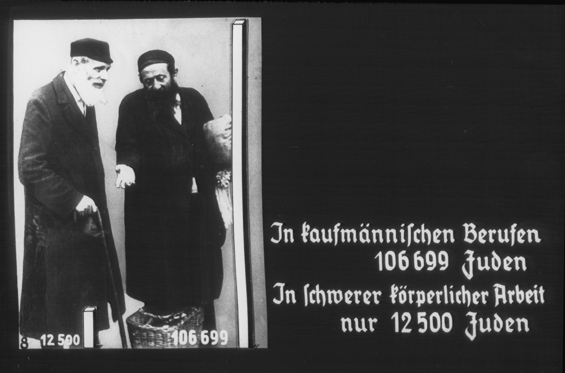 """Propaganda slide entitled """"In commercial trades there are 106,699 Jews; In heavy, physical work, only 12,500 Jews."""""""