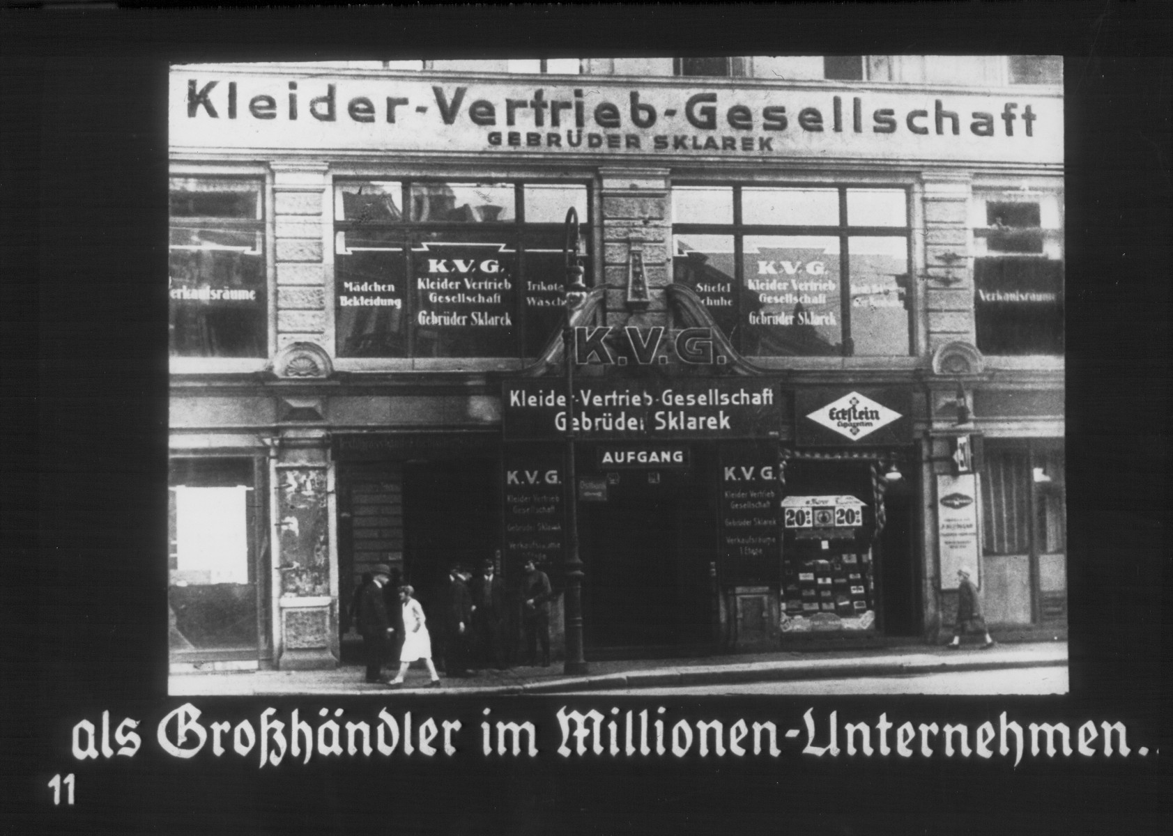 "Propaganda slide entitled ""The Sklarek Brothers Dress Company, a million [mark] wholesale enterprise."""