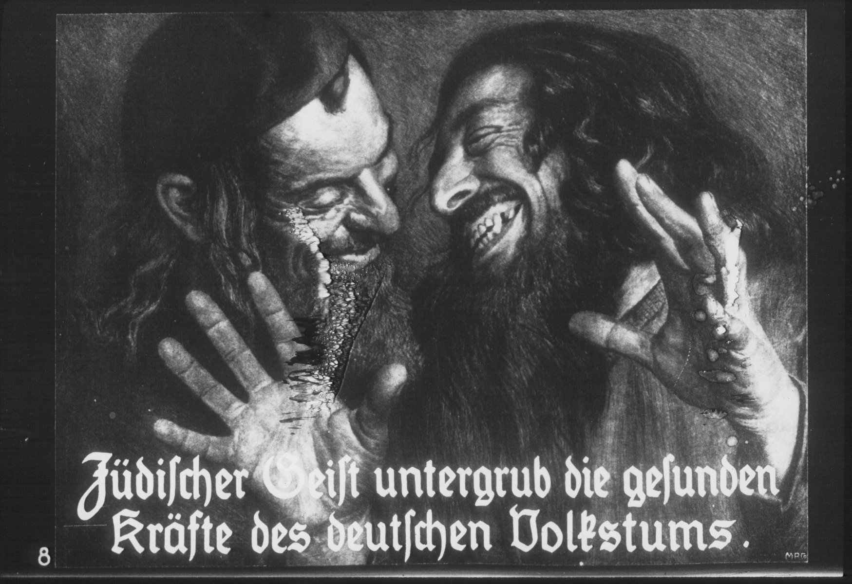"Propaganda slide entitled ""The Jewish spirit undermines the healthy powers of the German people."""