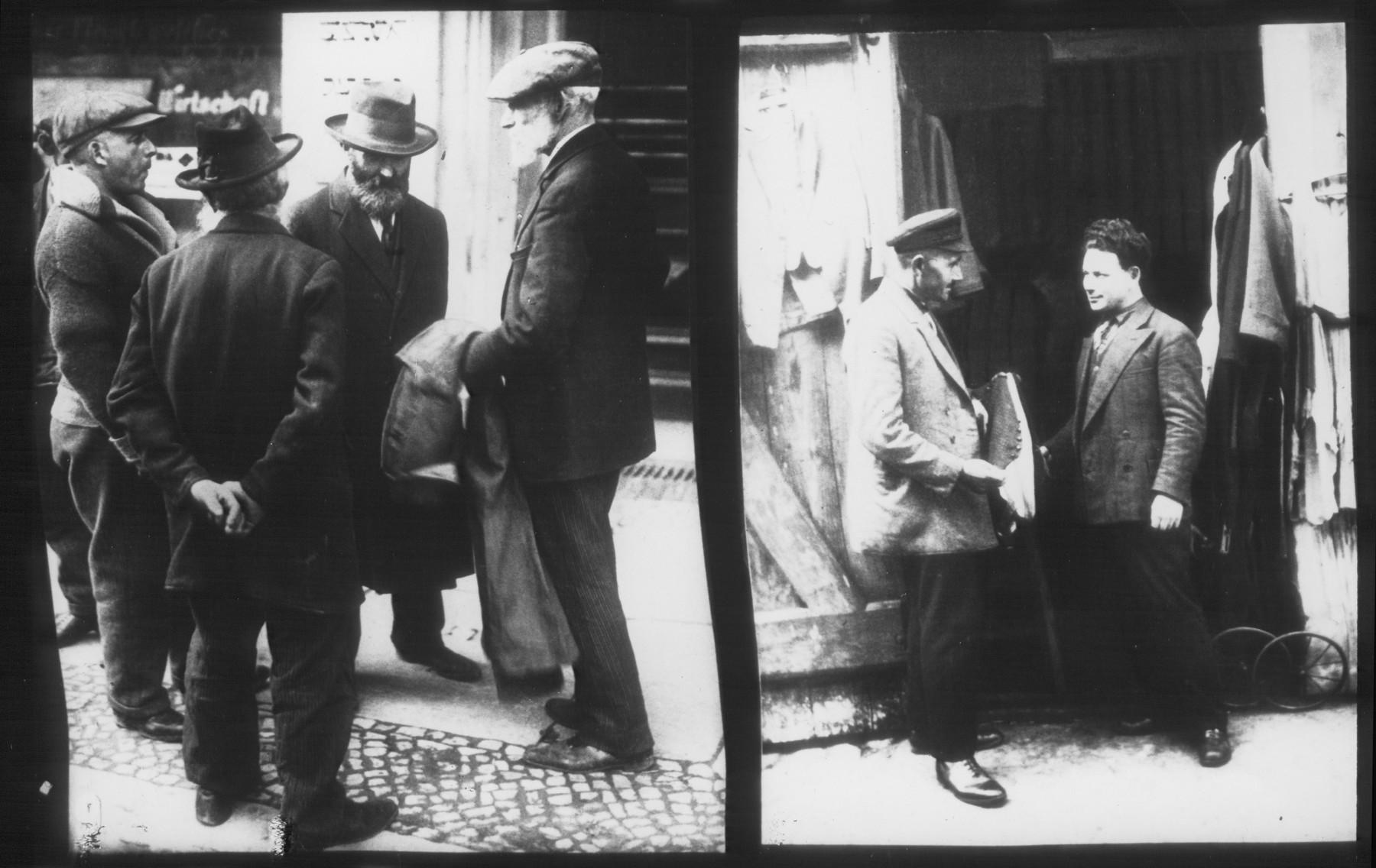 Untitled anti-Jewish propaganda slide featuring two scenes of Jews in the Berlin Jewish quarter.