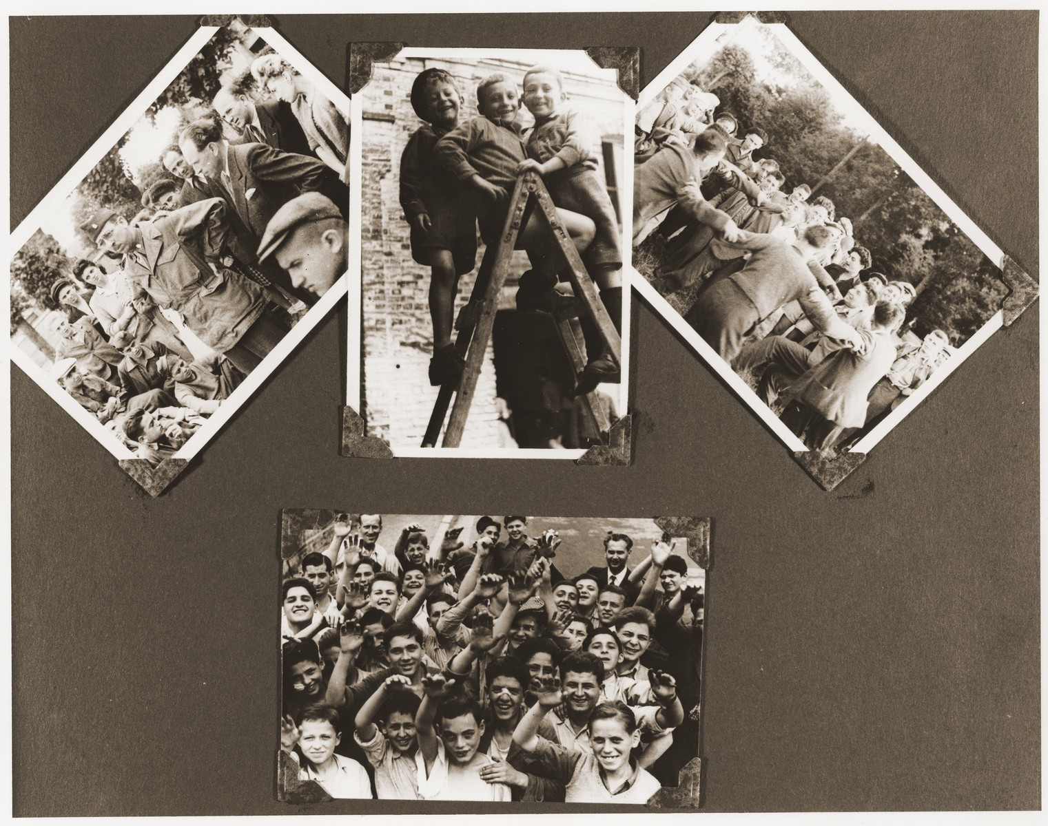 A page from Romek Wajsman's photo album, which includes four photos of members of the Buchenwald children's transport during their stay at the Ecouis children's home.
