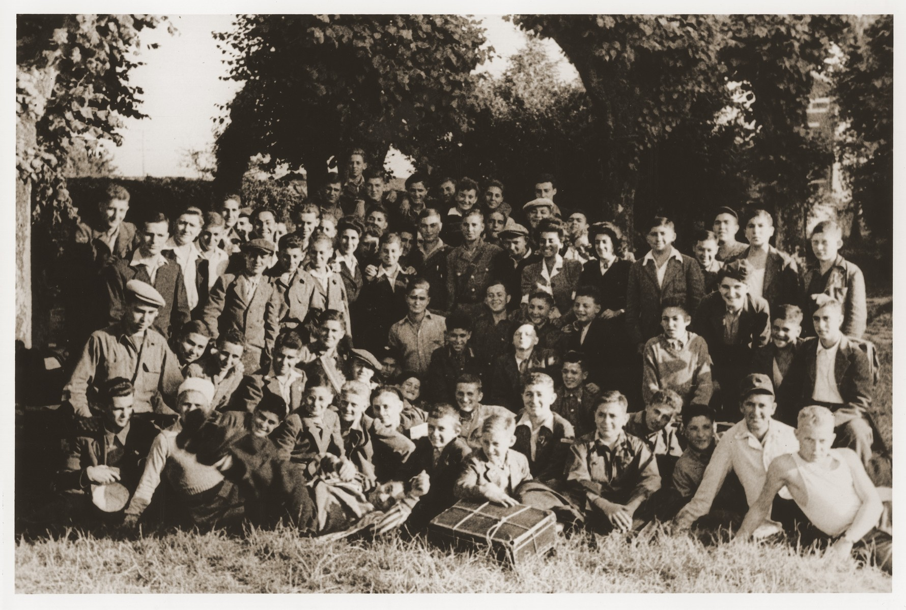 Group portrait of Jewish DP youth at the OSE (Oeuvre de Secours aux Enfants) home for Orthodox Jewish children in Ambloy.  Elie Wiesel is among those pictured.