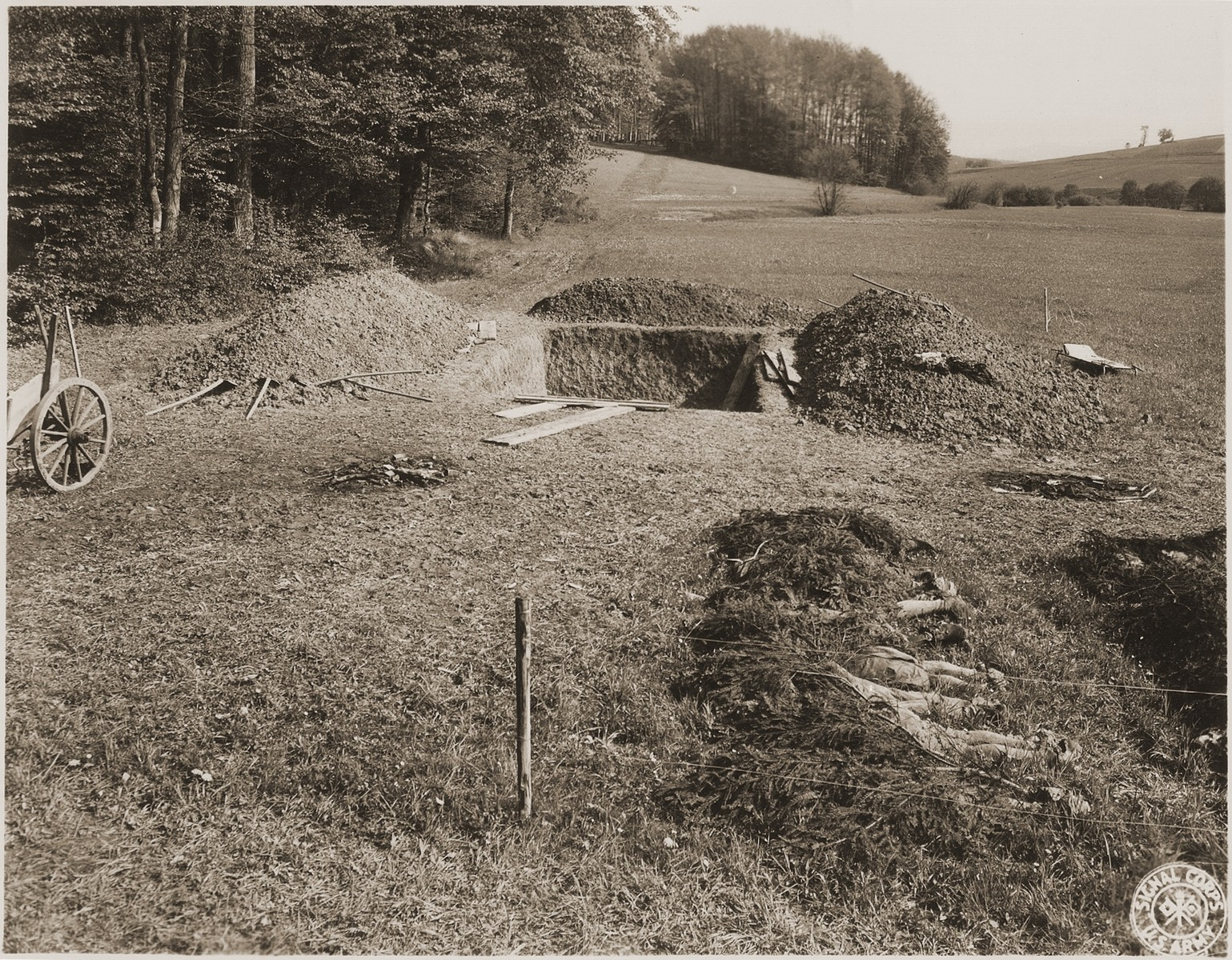 View of the mass grave near Hirzenhain from which the bodies of 87 prisoners were exhumed.