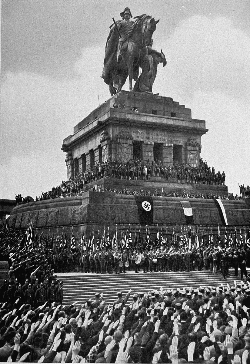 Members of the National Socialist German Labor Front (DAF) participate in a rally at the monument to Kaiser Wilhelm I located at the Deutsches Eck in Koblenz.