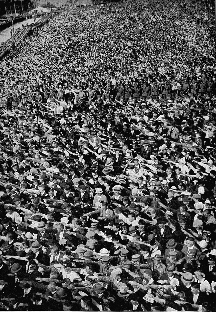 Aerial view of a mass rally in support of the annexation of the Saar by the German Reich.