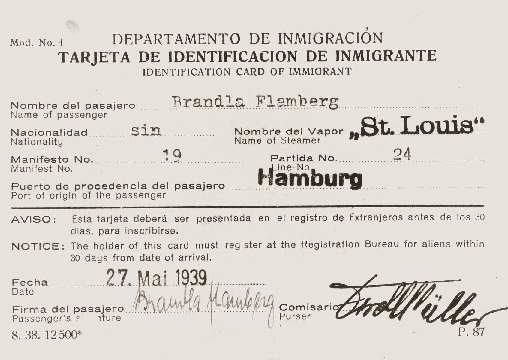 Immigration identification card issued by the Cuban government to St. Louis passenger Brandla Flamberg in advance of her voyage.