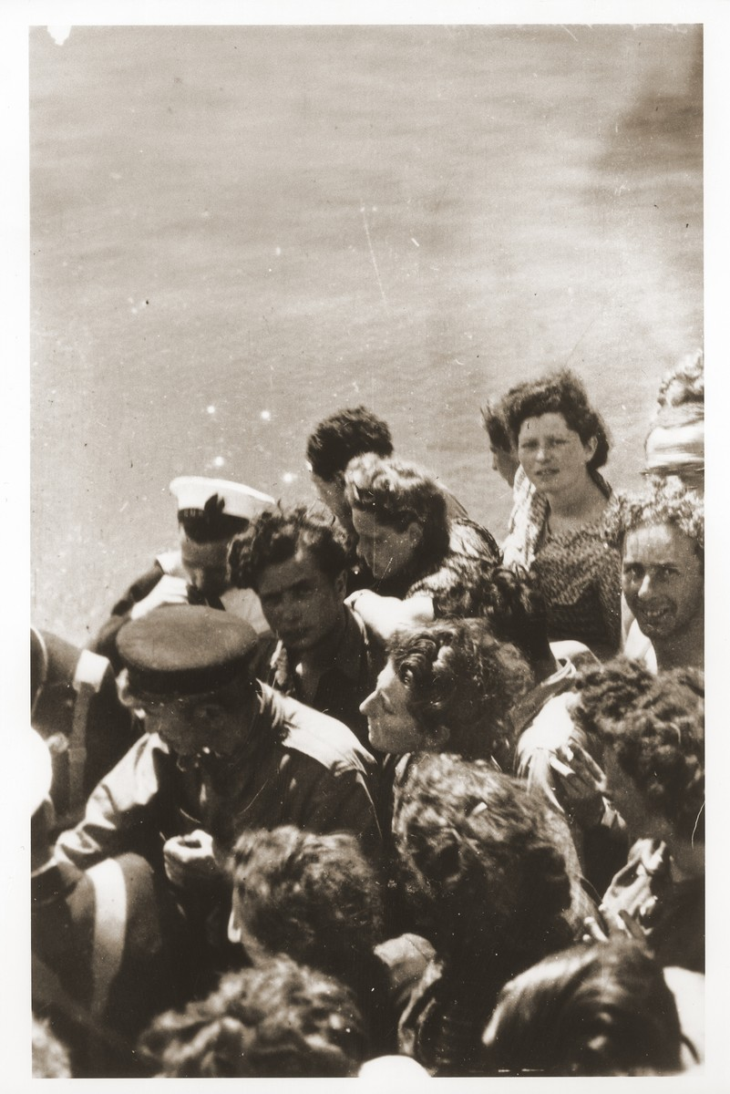 Illegal immigrants to Palestine are crowded on the deck of the Tel Hai.  Szaja Aron Knobler (now Alex Knobler) is the son of Moszek and Jocheta Knobler.  He was born in 1921 in Bedzin, Poland.  Szaja had three older sisters, Ita, Esther and Leah.  In 1931 the family moved to Chorzow near the German border.  There Szaja became active in the Akiba Zionist youth movement.  In 1938 he joined the Akiba hachshara [agricultural training farm] in Bielsko and made plans to immigrate to Palestine.  His plans were thwarted, however, by the start of World War II.  In the first months of the war Szaja fled to the Soviet sector of Poland, where he explored possible exit routes to Palestine via Romania for the nascent Zionist underground.  During a visit home in 1940 Szaja was caught up in the forced resettlement of his family to the Sosnowiec ghetto.  From Sosnowiec Szaja was deported to the Blechhammer labor camp, where he remained until the camp was evacuated in January 1945.  During the forced march out of the camp Szaja ran away with two friends.  German guards shot and killed his friends but Szaja escaped.  Posing as a Polish laborer, Szaja found refuge with a German farmer in Gleiwitz until liberation.  After the war Szaja, who was the sole survivor of his immediate family, took a leading role in the setting up of Zionist collectives in Poland.  He also was active in the Bricha and Aliyah Bet [illegal immigration to Palestine] movement.  This activity led to his arrest in Sosnowiec by the NKVD.  Following his release from prison, Szaja left Poland for Germany.  During the summer of 1945 Szaja organized Zionist activities at the Foehrenwald displaced persons camp.  In October he moved on to the Bergen-Belsen DP camp, where he joined a group of 400 would-be immigrants to Palestine.  The group sailed aboard the Tel Hai from Marseilles in March 1946.  When the ship reached Palestine, it was intercepted by the British and its passengers interned for three weeks in Athlit.  Following his release Szaja settled in Kibbutz Masada, but by December 1946 he was back in Germany.  Serving as an emissary for NOHAM (Noar Halutzi Meuchad), a Zionist youth umbrella group, Szaja distributed immigration certificates and organized Youth Aliyah groups in the DP camps.  While working at the Belsen DP camp Szaja met Pola Blicblum, a survivor from Lodz.  They were married in the Landsberg DP camp on July 30, 1947.  Soon after they settled in Palestine.