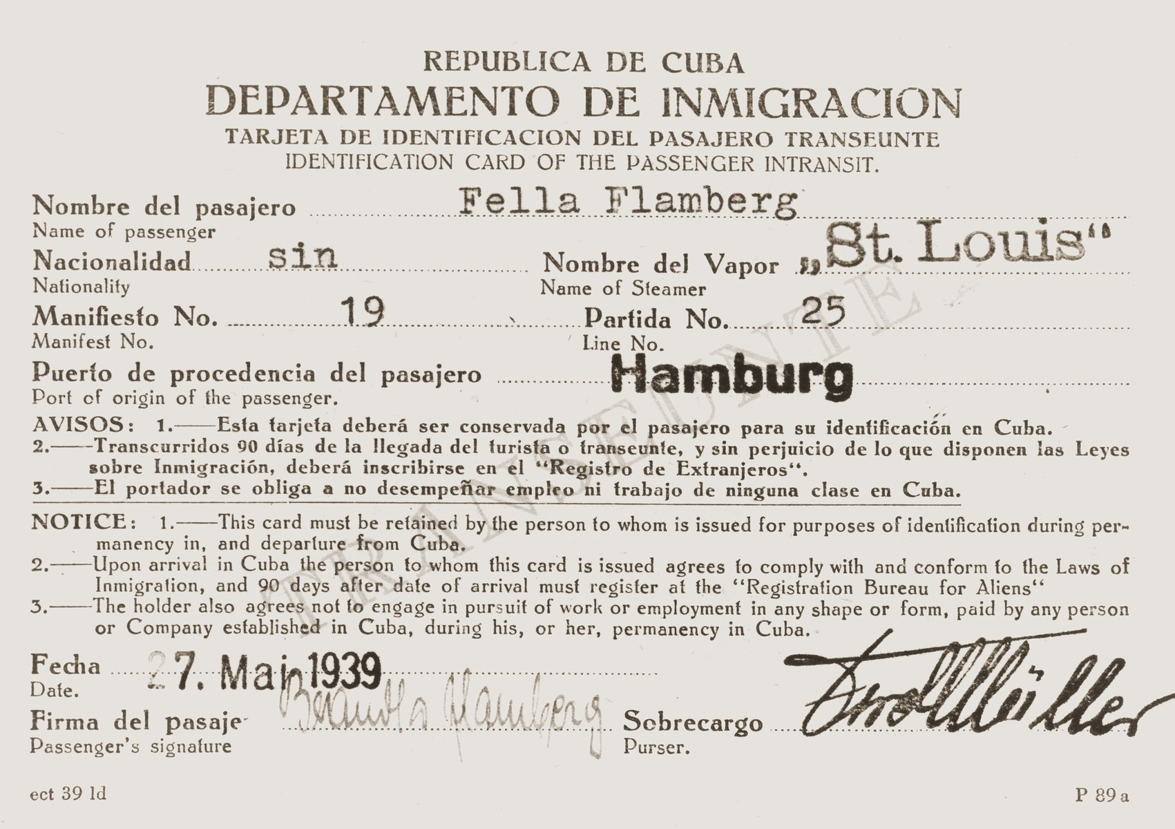 Immigration identification card issued by the Cuban government to St. Louis passenger Fella Flamberg in advance of her voyage.
