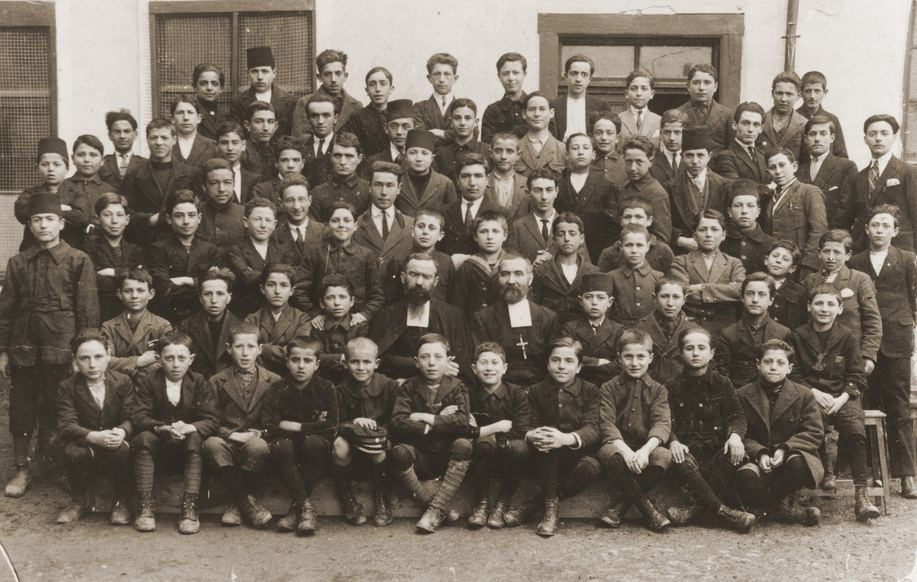 Class portrait at a school in Bitola, Macedonia, attended by both Jews and non-Jews.