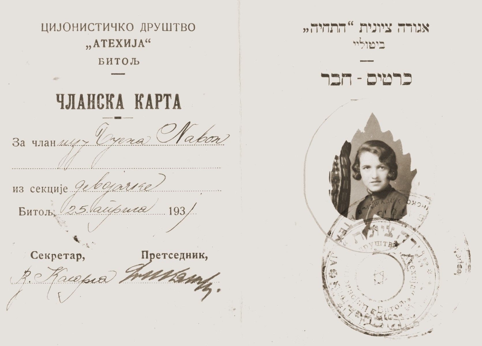 Membership card in the Bitola, Macedonia chapter of the Hatichiya Zionist youth movement.