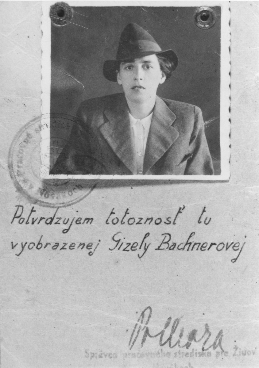 Identification card of Gizela Bachnerova, Novaky Work Facility for Jews.  Beneath her photograph is a confirmation that she is the woman pictured.