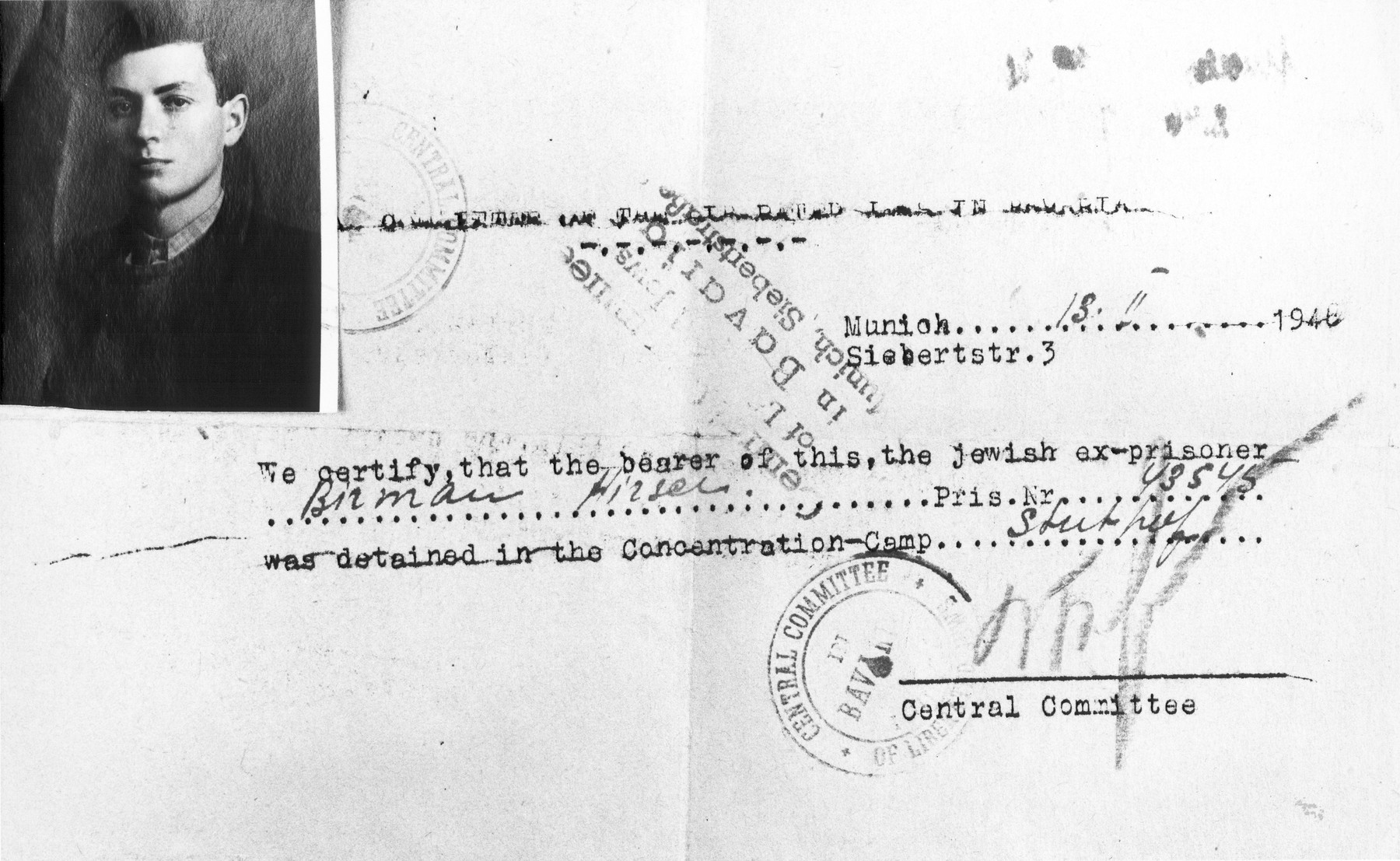 Identification papers issued to Hirsch Birman by the Central Committee for Liberated Jews in Bavaria attesting to the fact that he had been a prisoner at the Stutthof concentration camp.