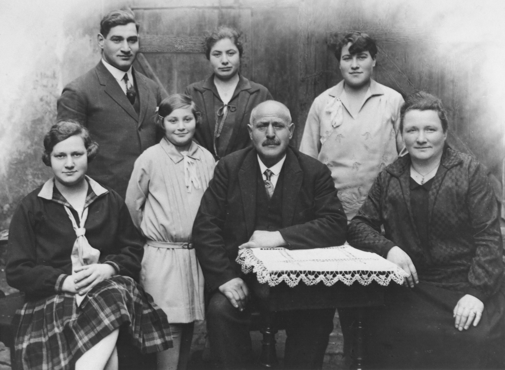 Portrait of a German-Jewish family.  Among those pictured are Rosalie and August Trum with their five children: Else, Ernst, Alice, Rosel and Erna.  This is the biological family of Erna Gottschalk, later she was adopted by Gustav and Henriette Gerson.