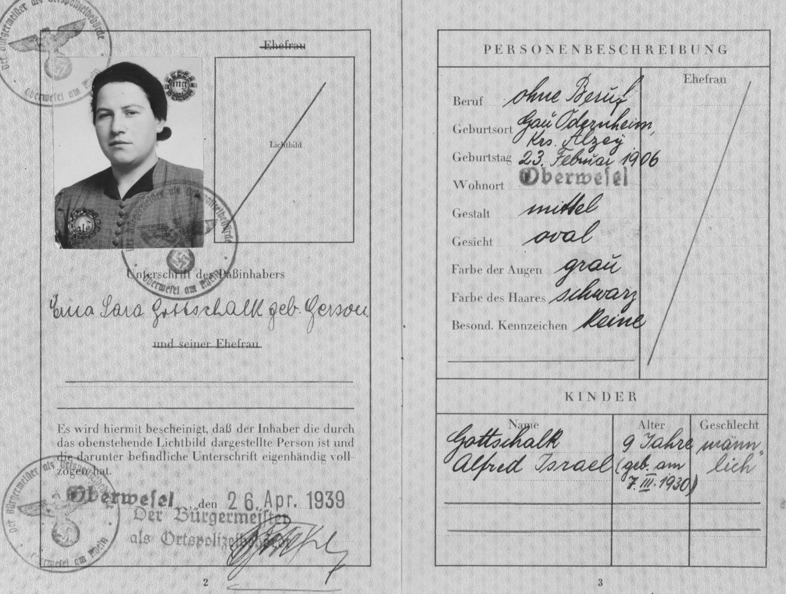 Passport of Erna Gerson (later Gottschalk).
