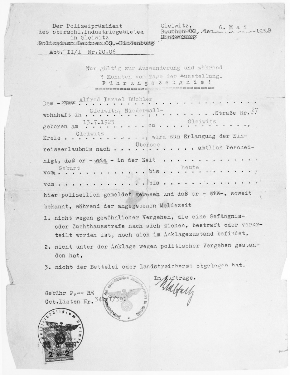 Police certificate attesting to the fact that Alfred Büchler had not committed any crimes that would preclude his emigration.