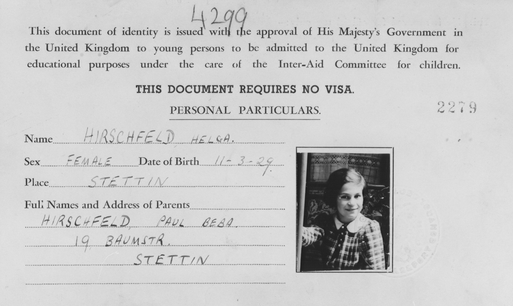 Document, in lieu of a visa, allowing Helga Hirschfeld to be admitted to the United Kingdom under the care of the Inter-Aid Committee for children.