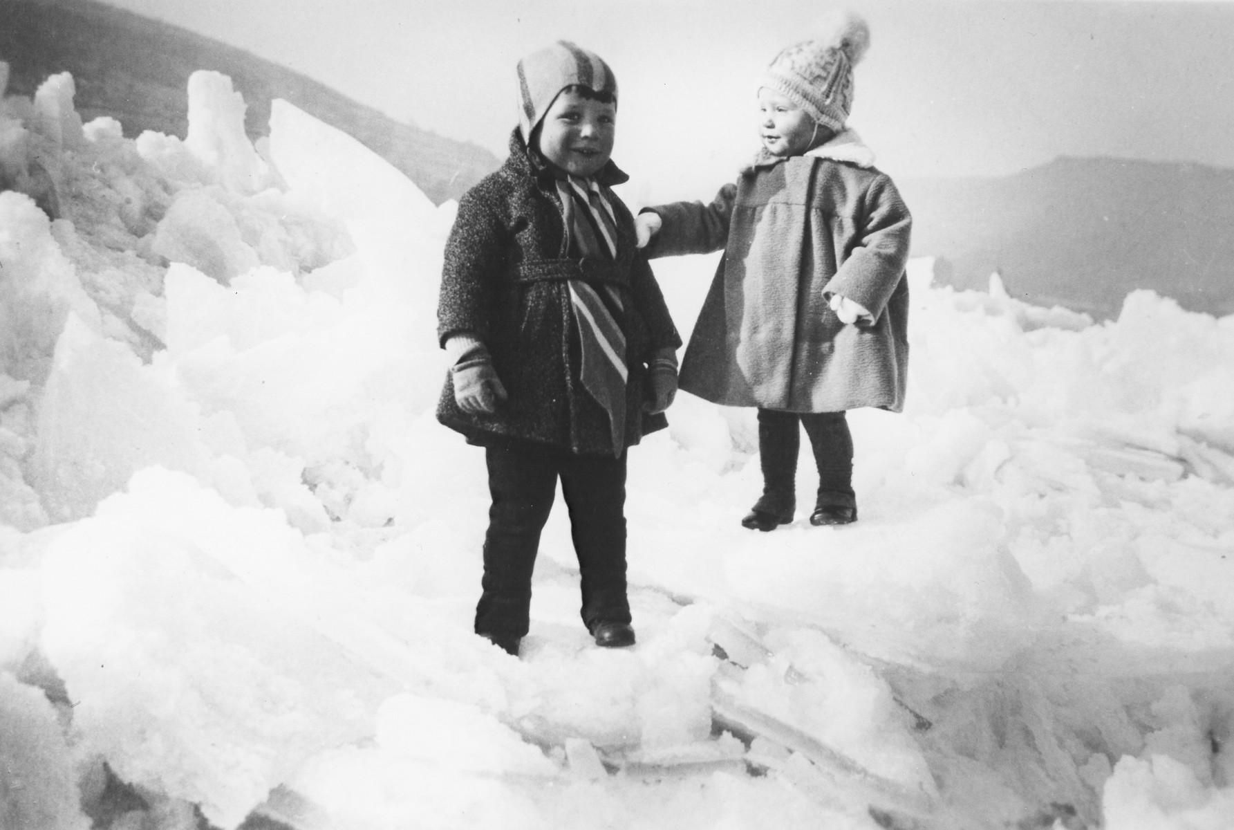 Alfred Gottschalk (left) and another child on the frozen Rhein river.