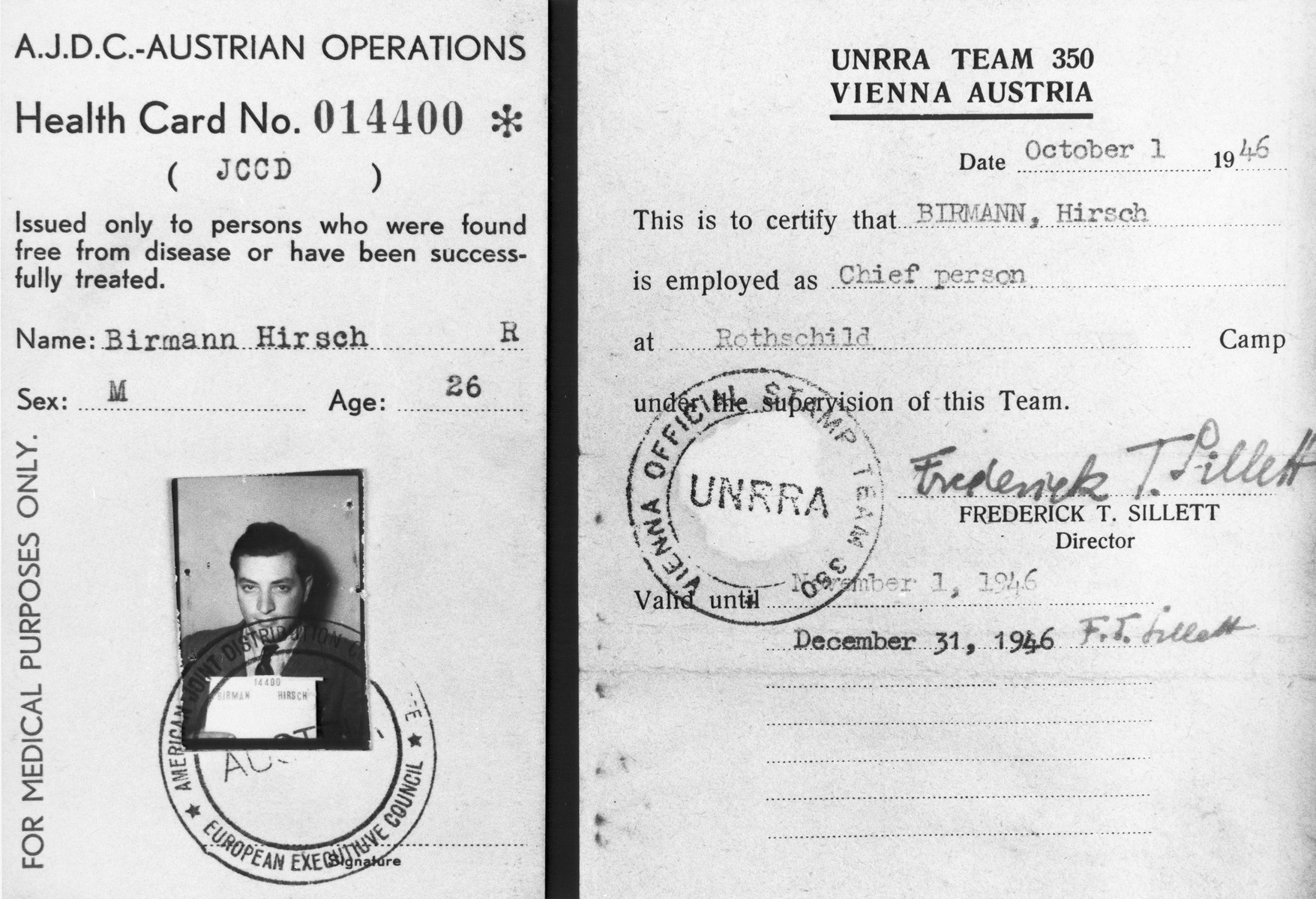 Health card issued by the American Joint Distribution Committee Austrian Operations to Jewish DP Hirsch Birman certifying that he is an employee of the Rothschild Hospital displaced persons camp in Vienna, under the supervision of UNRRA team 350.