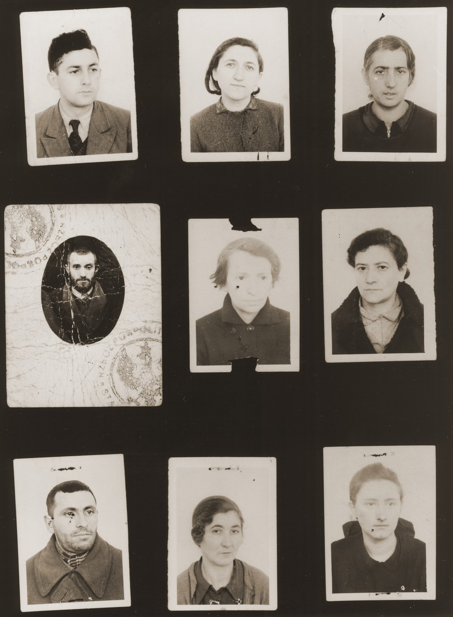 "A sampling of the more than 300 identification card photos of local Jewish residents that were found on the floor of the Gestapo headquarters in Biala Rawska in January 1945.    They were discovered by Leon Sztubert, a Jewish survivor from the town, who spent the war in hiding in a nearby forest.  Pictured (from the top row left and moving across each row) are Aron Najfeld; Yidl Fridenrajch (b. 1910); ""Fajga""; Lewek Fishel; Gitl [illegible]; Mirl Zimmler; Simcha Binem Kleinman; Matel Goldberg; and Yeta Taubtman."