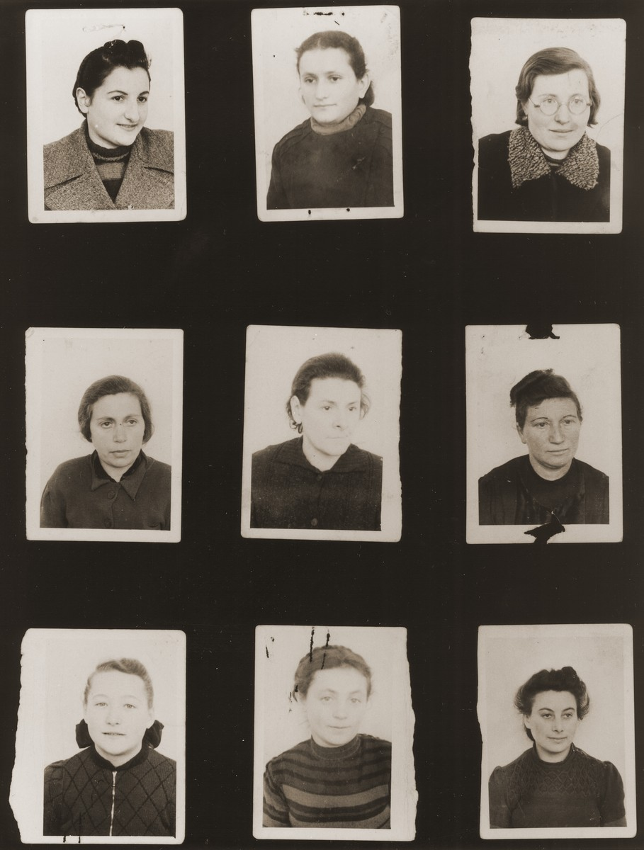 A sampling of the more than 300 identification card photos of local Jewish residents that were found on the floor of the Gestapo headquarters in Biala Rawska in January 1945.    They were discovered by Leon Sztubert, a Jewish survivor from the town, who spent the war in hiding in a nearby forest.  Pictured (from the top row left and moving across each row) are Sarah Goldberg (b. 1922); Helena Borensztajn; Reva Kleinman (b. 1915); Kreindl Freidl ?; Chana Gilbart (b. 1905); Bluma Nechama Warszawski; woman from Zgierz; Tzerel Rozenberg (b. 1915); and Ruchl Fredman.