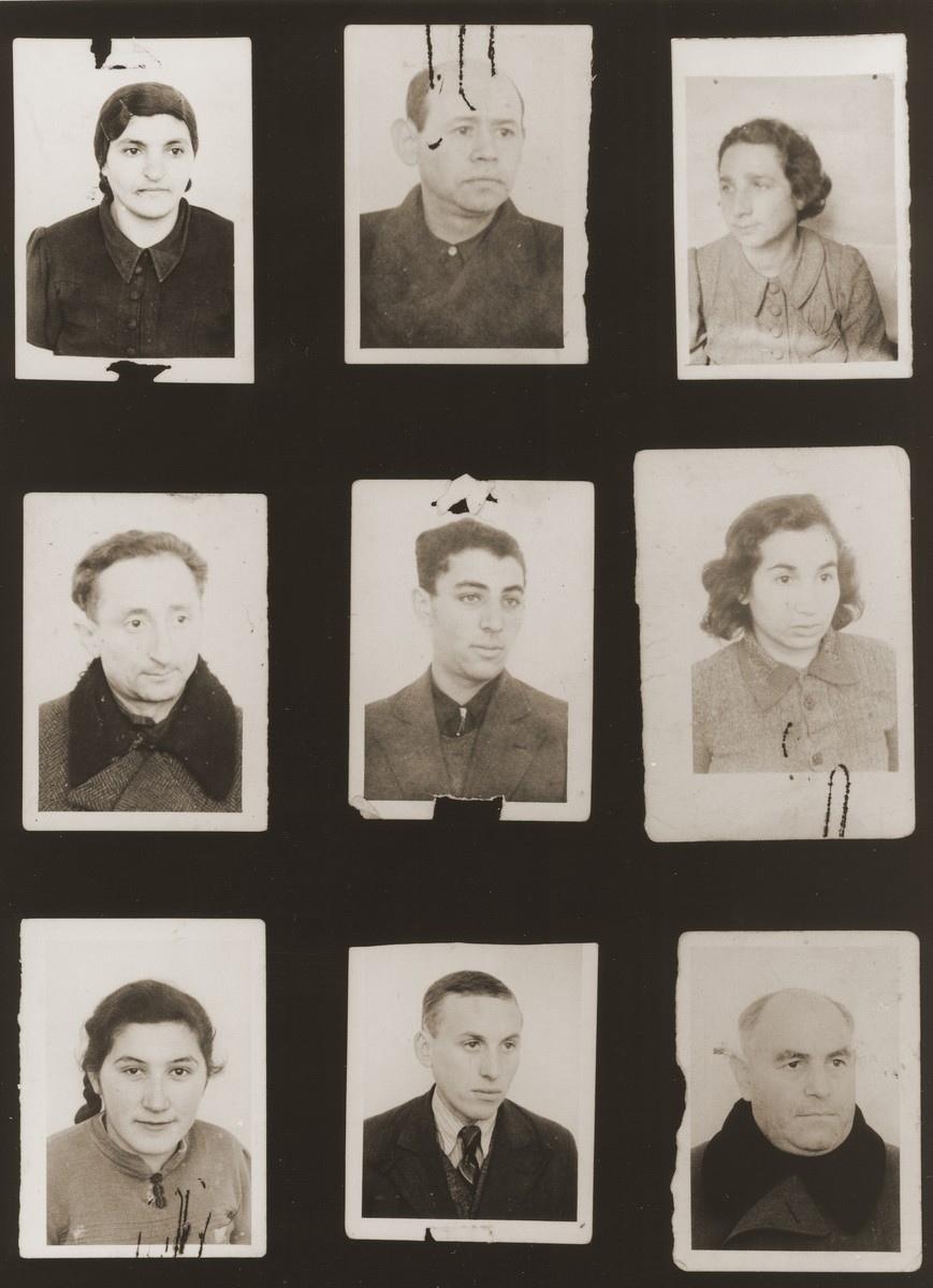 "A sampling of the more than 300 identification card photos of local Jewish residents that were found on the floor of the Gestapo headquarters in Biala Rawska in January 1945.    They were discovered by Leon Sztubert, a Jewish survivor from the town, who spent the war in hiding in a nearby forest.  Pictured (from the top row left and moving across each row) are Chaja Taubtman; Moshe Ajbus; Yankl David Mendkes; Menachem Weisbart; Frank; Tzipa Najfeld; ""Tabacznik"" (b. 1920); Arie Frydman; and Srulek Marchew."
