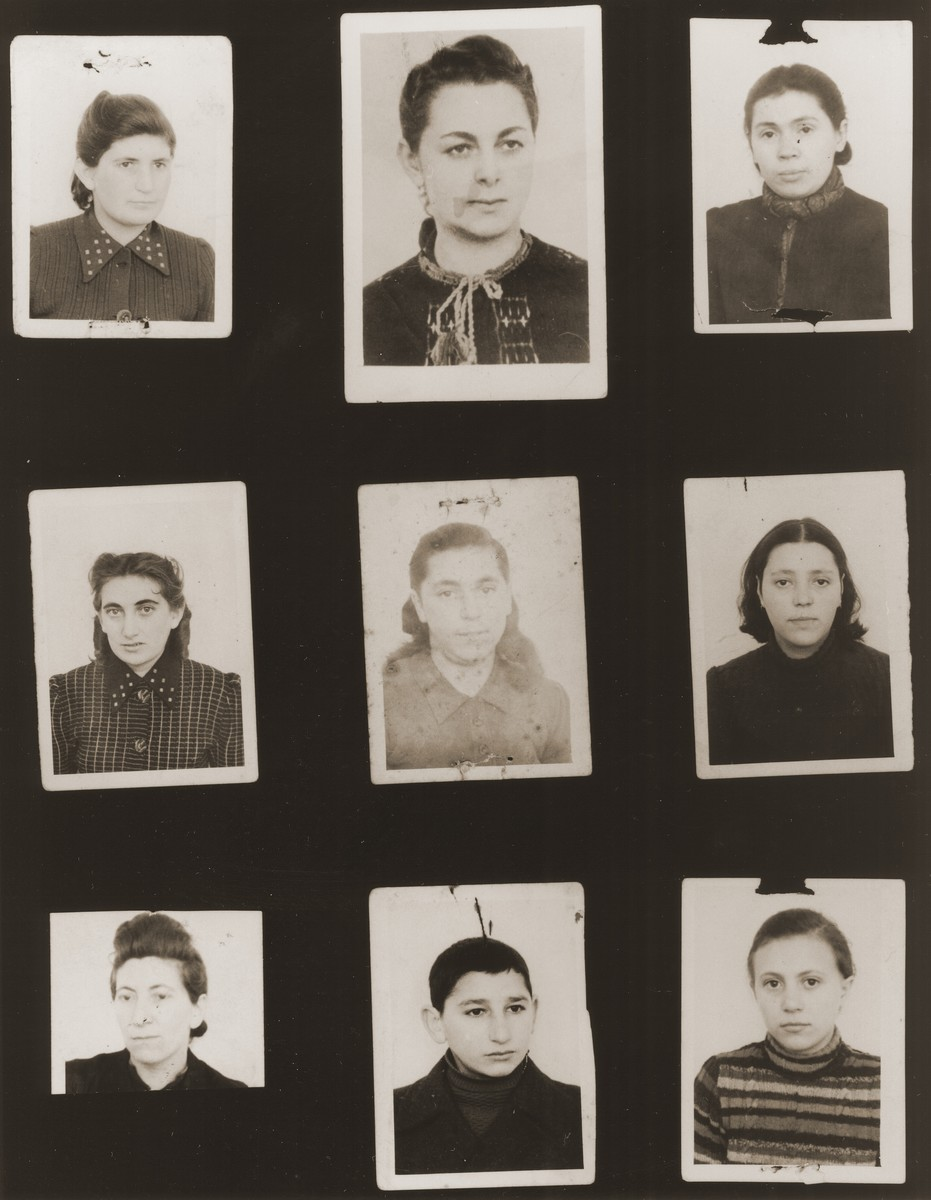"""A sampling of the more than 300 identification card photos of local Jewish residents that were found on the floor of the Gestapo headquarters in Biala Rawska in January 1945.    They were discovered by Leon Sztubert, a Jewish survivor from the town, who spent the war in hiding in a nearby forest.  Pictured (from the top row left and moving across each row) are Esther Gurfinkel; ? Goldberg; Esther Kilbert; Mania Hofman; """"Dykopp""""; Rifka Binsztok; Mindla Janowska; """"Mogielnicky""""; and H. R. Goldberg."""