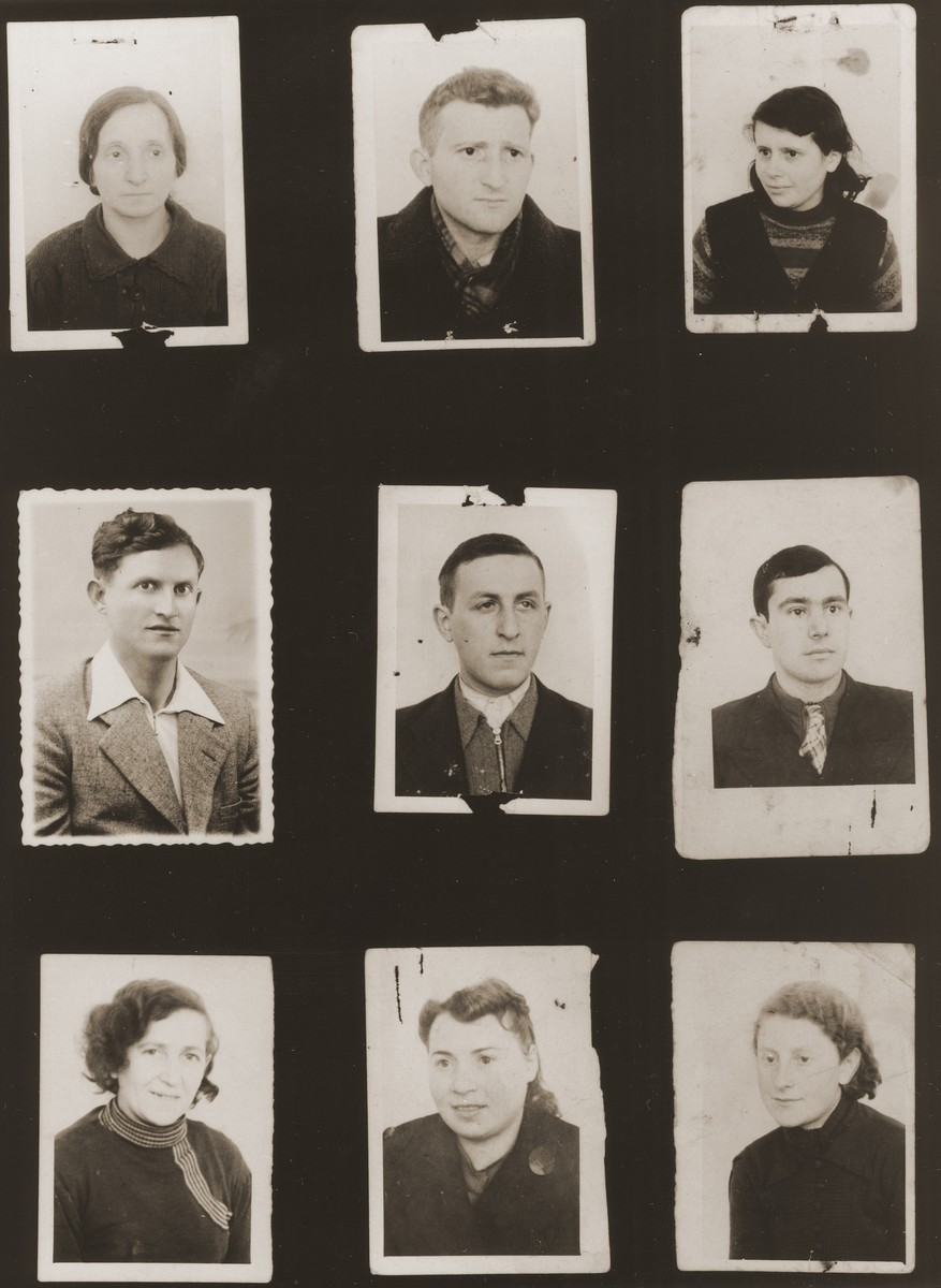 "A sampling of the more than 300 identification card photos of local Jewish residents that were found on the floor of the Gestapo headquarters in Biala Rawska in January 1945.    They were discovered by Leon Sztubert, a Jewish survivor from the town, who spent the war in hiding in a nearby forest.  Pictured (from the top row left and moving across each row) are Gitl Jazelszajn; ""Dr. Gerszon""; Miriam Jazelszajn; Natan Goldberg; ""Bermson""; Yidl Przytycki; Liba Marchev; sister-in-law of Leib Moshe Goldberg Janowski; and Sarah Markow."