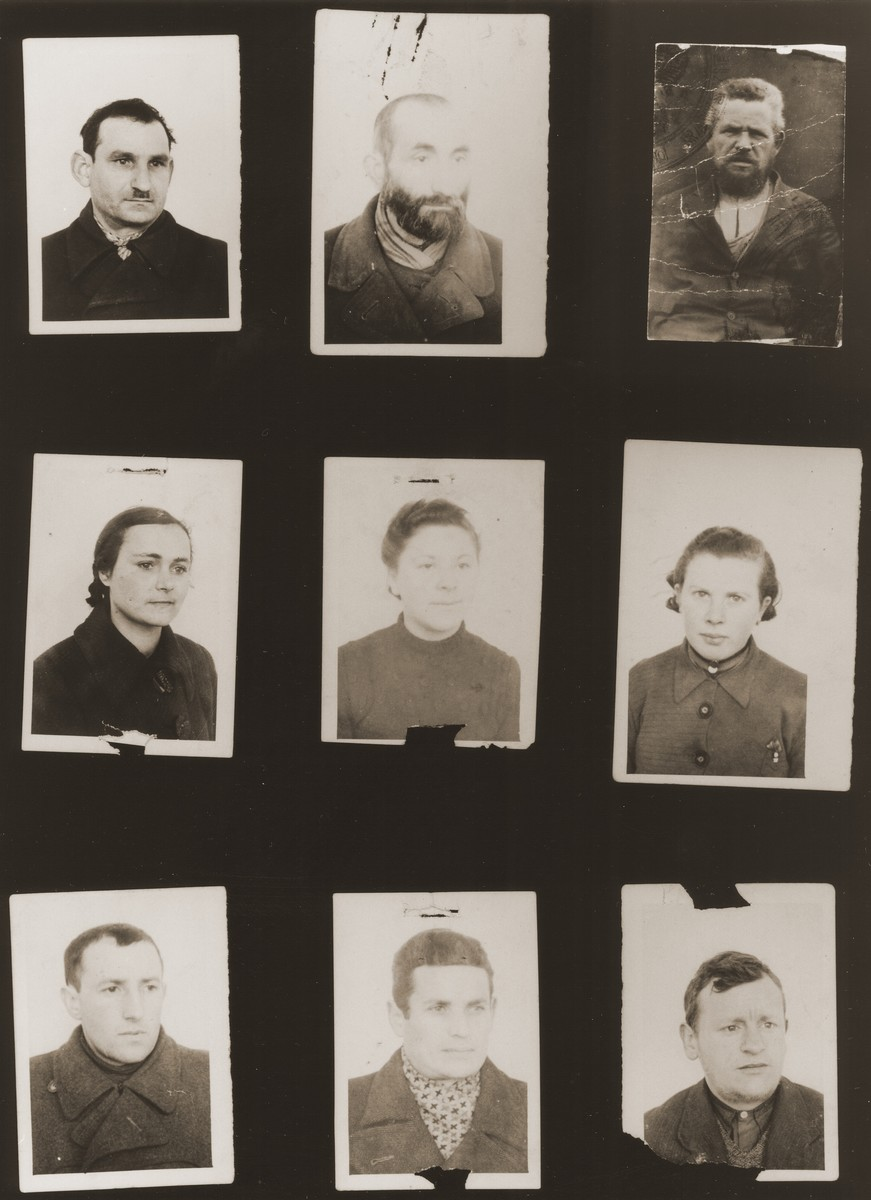 A sampling of the more than 300 identification card photos of local Jewish residents that were found on the floor of the Gestapo headquarters in Biala Rawska in January 1945.    They were discovered by Leon Sztubert, a Jewish survivor from the town, who spent the war in hiding in a nearby forest.  Pictured (from the top row left and moving across each row) are Hersh Lewkowicz; Icze Targetman; Moshe Rosenbaum; Frajda Kurcbzum (b. 1918); Perel Rawski; Fajgu Mazelsza; ?; Simcha Hauptman; and Chaim Klajman.