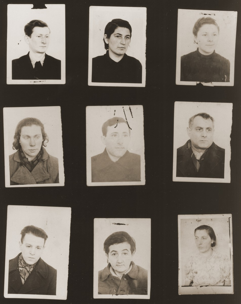 "A sampling of the more than 300 identification card photos of local Jewish residents that were found on the floor of the Gestapo headquarters in Biala Rawska in January 1945.    They were discovered by Leon Sztubert, a Jewish survivor from the town, who spent the war in hiding in a nearby forest.  Pictured (from the top row left and moving across each row) are Leib Haupman; Ryfka Laja Gurfinkel (b. 1917); Perel Rawski; Masha Bendel; Icze Taubtsztajn; Abraham Mordechai Goldberg; Natan Gross; Rywka Najfeld; and ""Rugiae""."