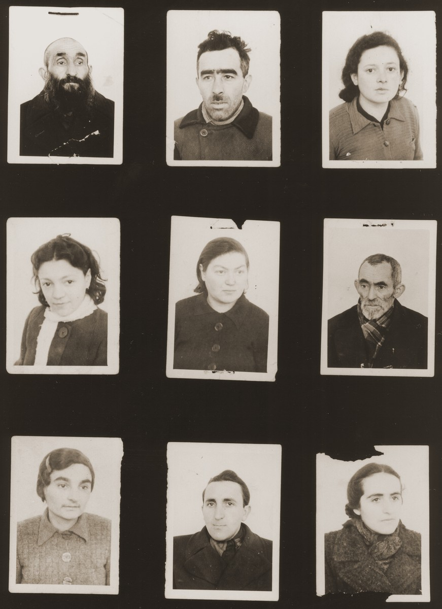 "A sampling of the more than 300 identification card photos of local Jewish residents that were found on the floor of the Gestapo headquarters in Biala Rawska in January 1945.    They were discovered by Leon Sztubert, a Jewish survivor from the town, who spent the war in hiding in a nearby forest.  Among those pictured are Yechiel Tzetzerbajm (b. 1916); Sheindl Berman; ""daughter of Moshe Targetman""; Motel Blacharz; Perel Szrajbojm; woman hiding as an Aryan [?] in Ghetto Biala; Feigja Hamer; Tzalel Szuster; and Moshe Targetman."