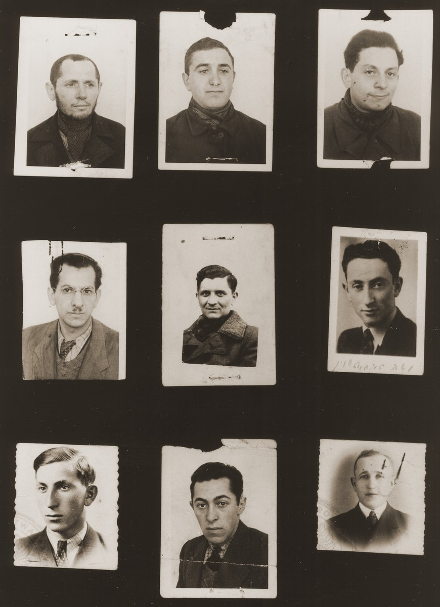 """A sampling of the more than 300 identification card photos of local Jewish residents that were found on the floor of the Gestapo headquarters in Biala Rawska in January 1945.    They were discovered by Leon Sztubert, a Jewish survivor from the town, who spent the war in hiding in a nearby forest.  Pictured (from the top row left and moving across each row) are Israel Yankel Bentszel; Moshe Yidl Goldberg; Chaim Pinchas Furszt; """"son of Filosoff""""; Josek Szwarcsztejn (b. June 14, 1914); Mojshe Tabacznik (b. 1917); Menachem Janowski; Tautsztajn (d. 1941); and Israel Yosl Rosenbaum."""