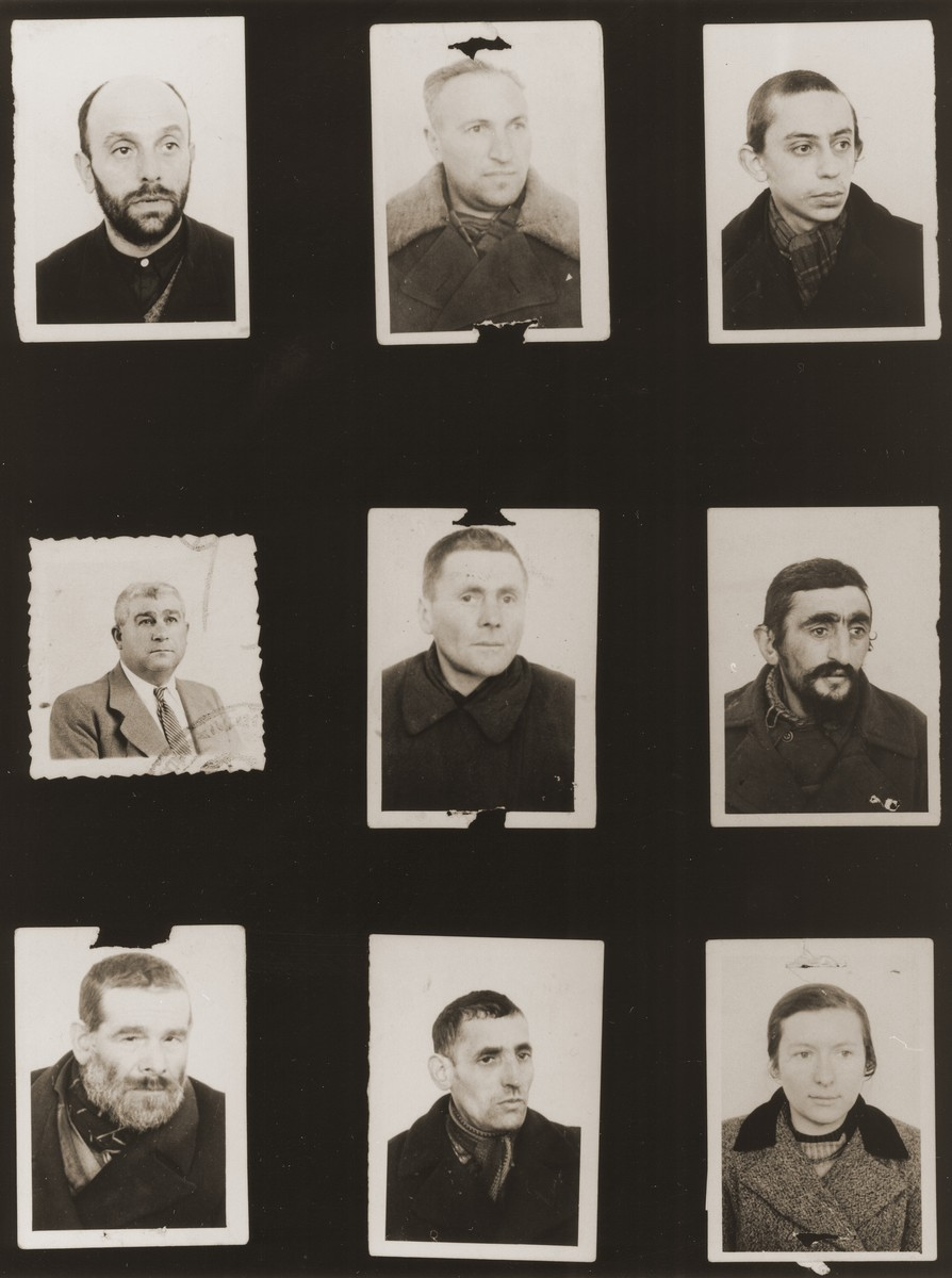 "A sampling of the more than 300 identification card photos of local Jewish residents that were found on the floor of the Gestapo headquarters in Biala Rawska in January 1945.    They were discovered by Leon Sztubert, a Jewish survivor from the town, who spent the war in hiding in a nearby forest.  Pictured (from the top row left and moving across each row) are J. Rechtszajd; Josef David Frank (b. 1907); Mayer Mencznig; ""Gracki""; Yankel Ravski; Yosel Tagetman; Moshe Mogielnicki; Lazar Rawkes; and ""Tzipa""."
