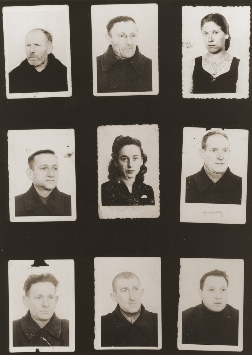 A sampling of the more than 300 identification card photos of local Jewish residents that were found on the floor of the Gestapo headquarters in Biala Rawska in January 1945.    They were discovered by Leon Sztubert, a Jewish survivor from the town, who spent the war in hiding in a nearby forest.