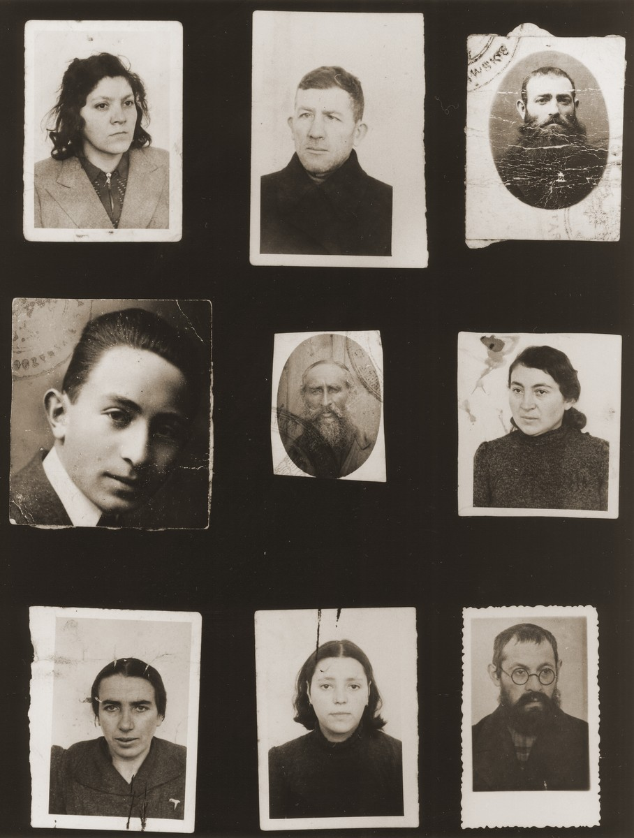A sampling of the more than 300 identification card photos of local Jewish residents that were found on the floor of the Gestapo headquarters in Biala Rawska in January 1945.    They were discovered by Leon Sztubert, a Jewish survivor from the town, who spent the war in hiding in a nearby forest.  Among those pictured are Welwel Weber; Baruch Jazelszajn; Szykawicz [?]; Taube Artman;  and Chaja Tzipora Janowski.