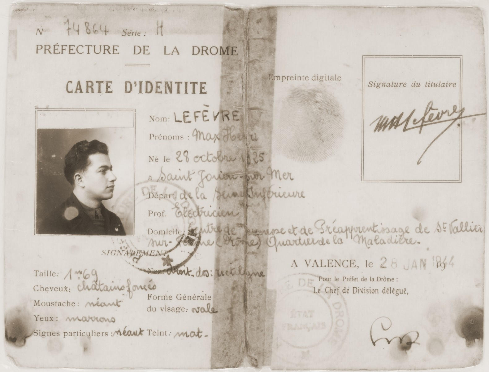 False identification card issued in the name of Max Lefevre that was used by Leo Bretholz while living in hiding in France.