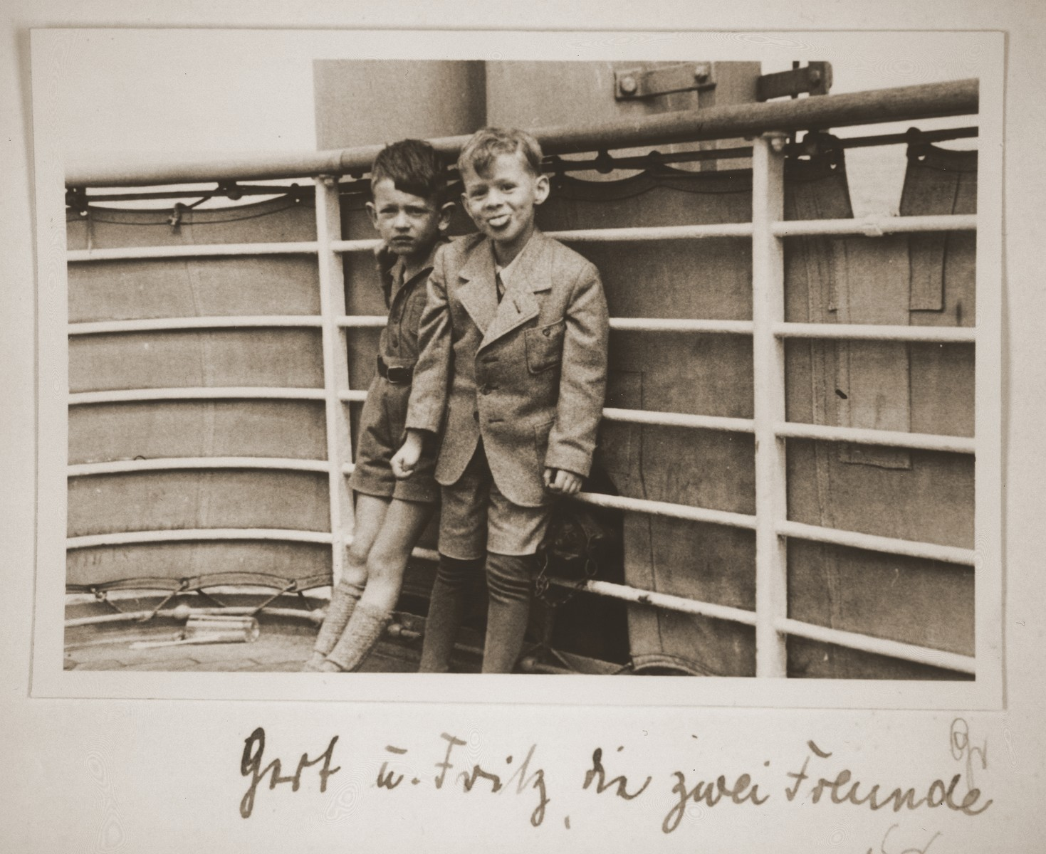 Fritz Vendig and his friend Gerd-Fritz Grunstein on board the MS St. Louis.