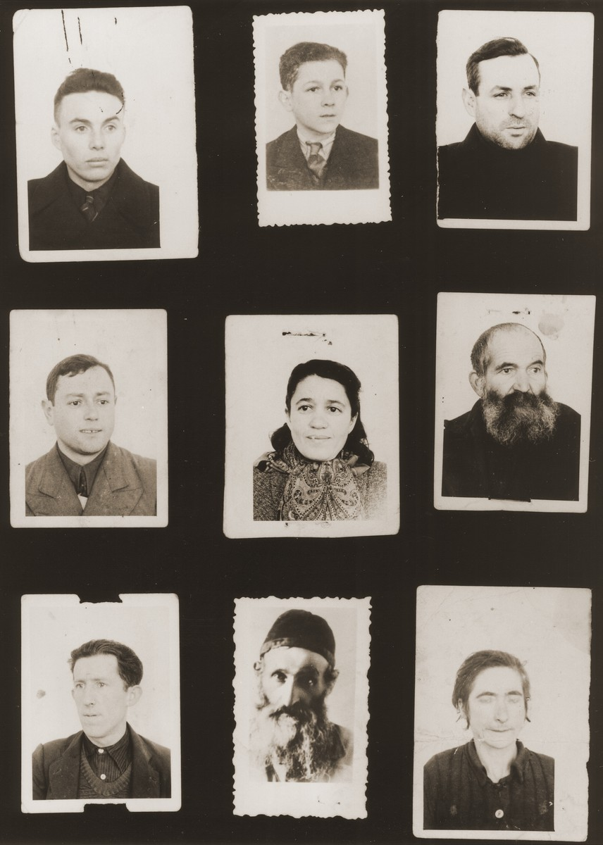A sampling of the more than 300 identification card photos of local Jewish residents that were found on the floor of the Gestapo headquarters in Biala Rawska in January 1945.    They were discovered by Leon Sztubert, a Jewish survivor from the town, who spent the war in hiding in a nearby forest.  Pictured (from the top row left and moving across each row) are Aba Frydman; Vigdor Weicher; Yankel Rosenbaum; Shlomo Petel; Frajda Ambus; Icze Gorfinkel; Abraham Jazelszajn; Yosel Mogielnicki; and Leah Rawski.