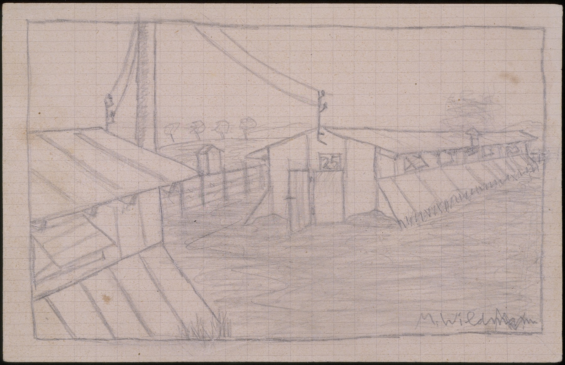 Pencil sketch of a group of barracks at the Gurs transit camp signed by Manfred Wildman.