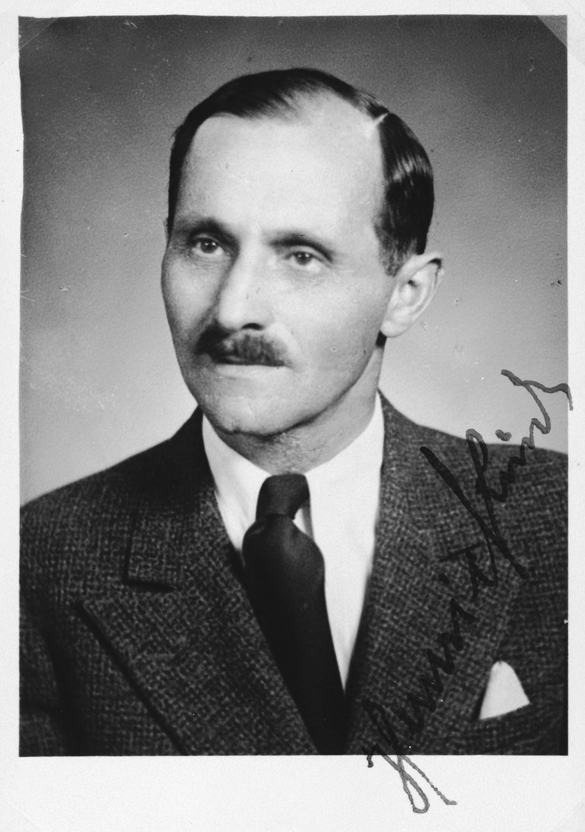 """Autographed portrait of Heini Rind, a member of the International Committee for European Immigrants in Shanghai.  One photograph from the International Committee album, """"Introducing the I.C. Staff"""" presented to I.C. secretary Paul Komor on August 7, 1941 in Shanghai."""