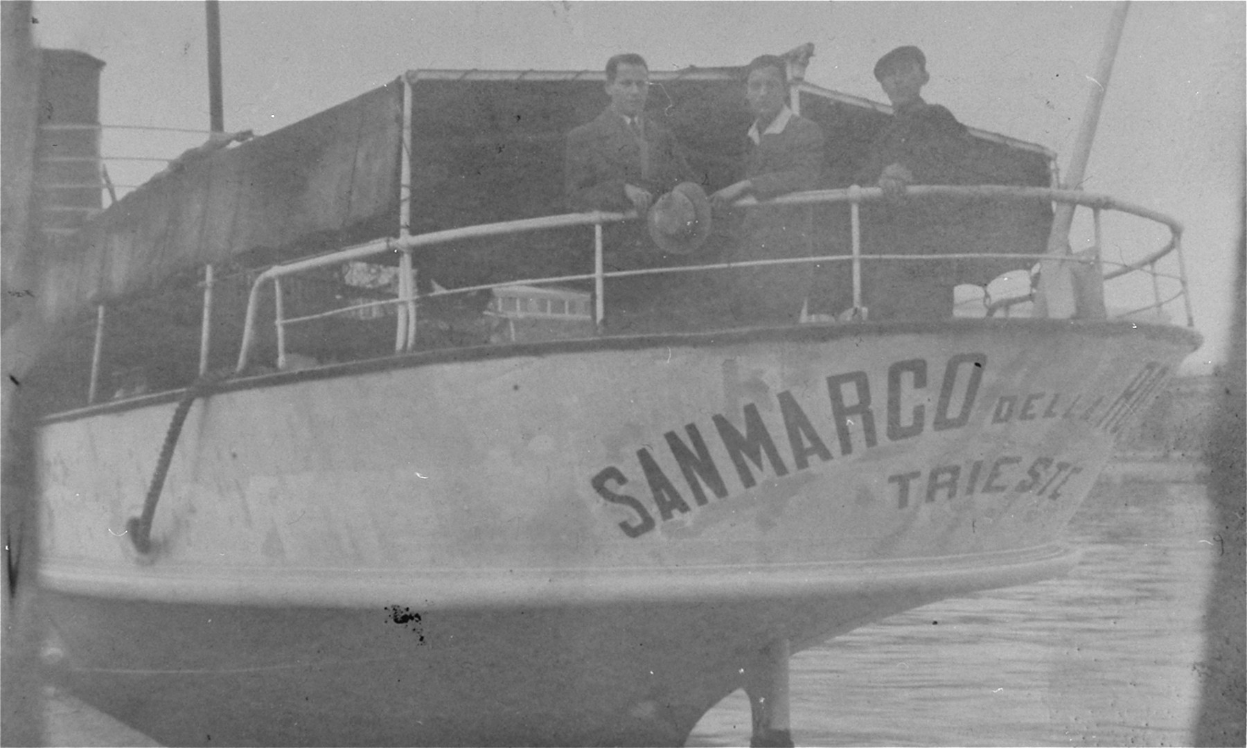 Three young men from Kolbuszowa, Poland, depart for Palestine aboard the ship San Marco.    Pictured from left to right are Shaye Dershowitz, Meyer Fliegelman, and David Saleschütz.