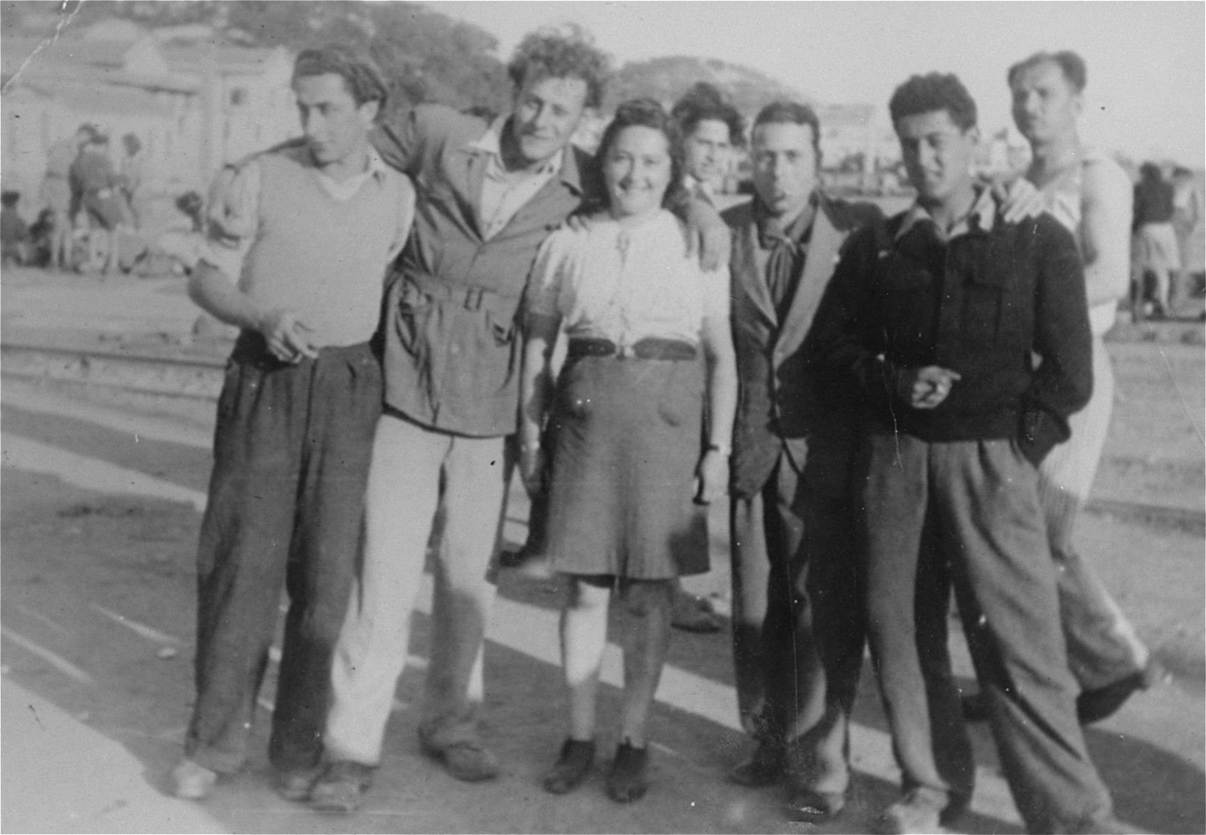 Hadasa Werdygier poses with a group of Italian Jews in La Spezia.    The Italians are there to show support for the journey of the Eliahu Golomb to Palestine.