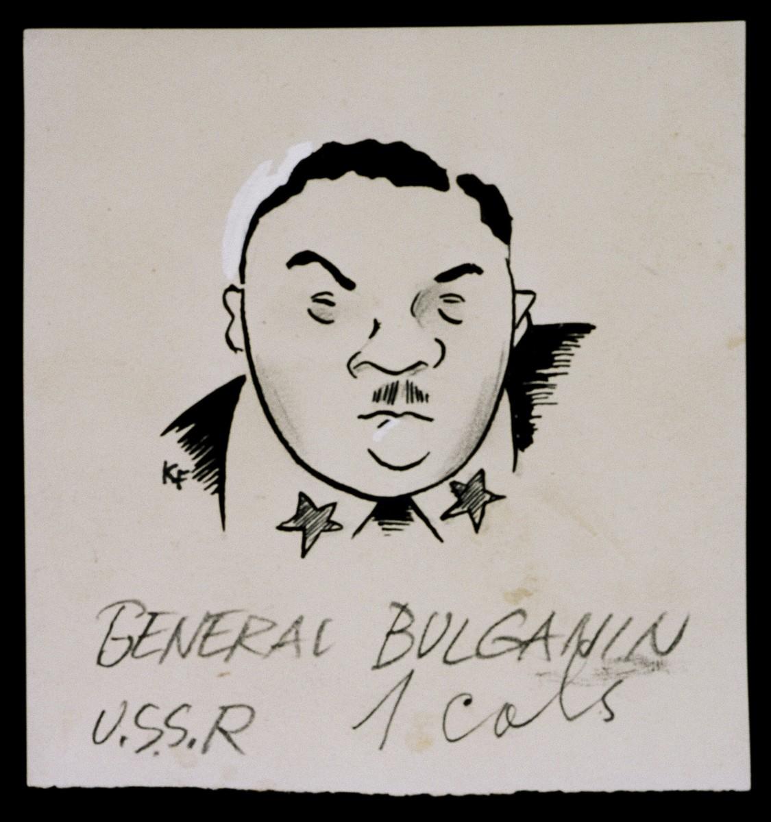 "Caricature of General Nikolai Bulganin from ""World War II Personalities in Cartoons/Originals done for 'La Nacion' Santo Domingo, 1939-1946"" by Klaus Martin Frank."