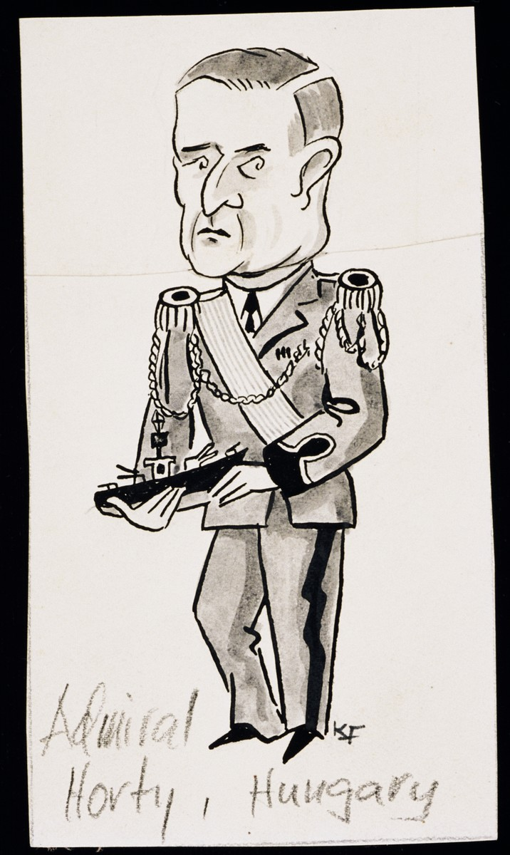 "Caricature of Miklos Horthy, as part of ""World War II Personalities in Cartoons/Originals done for 'La Nacion' Santo Domingo, 1939-1946"" by Klaus Martin Frank."