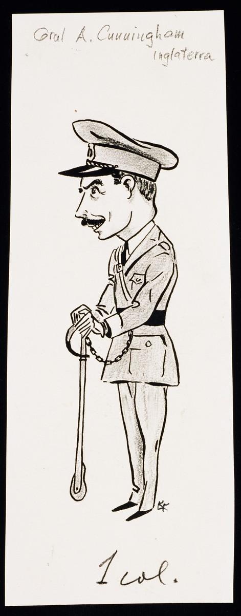 "Caricature of Lord Carington as part of ""World War II Personalities in Cartoons/Originals done for 'La Nacion' Santo Domingo, 1939-1946"" by Klaus Martin Frank."