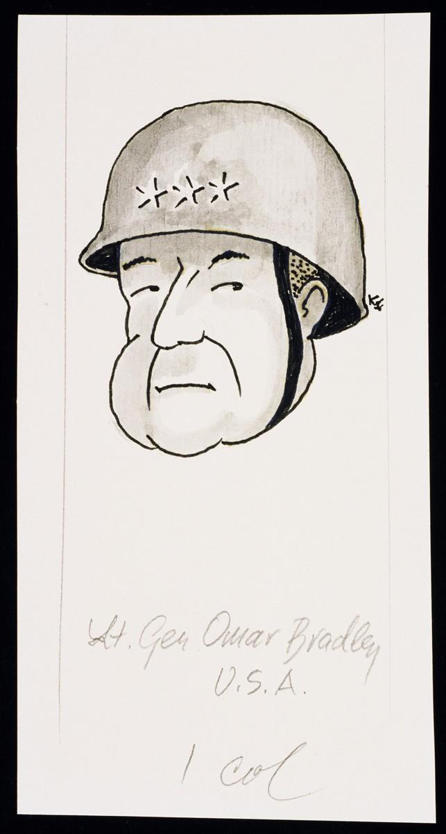 "Caricature of General Omar Bradley as part of ""World War II Personalities in Cartoons/Originals done for 'La Nacion' Santo Domingo, 1939-1946"" by Klaus Martin Frank."