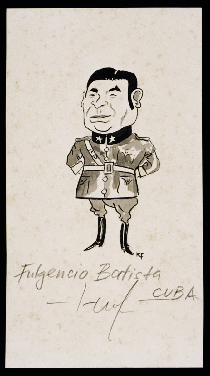 "Caricature of Fulgencio Batista from ""World War II Personalities in Cartoons/Originals done for 'La Nacion' Santo Domingo, 1939-1946"" by Klaus Martin Frank."