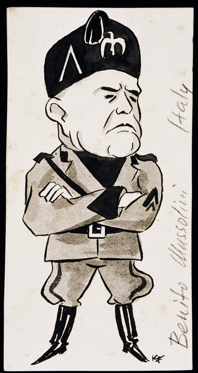 "Caricature of Benito Mussolini, as part of ""World War II Personalities in Cartoons/Originals done for 'La Nacion' Santo Domingo, 1939-1946"" by Klaus Martin Frank."