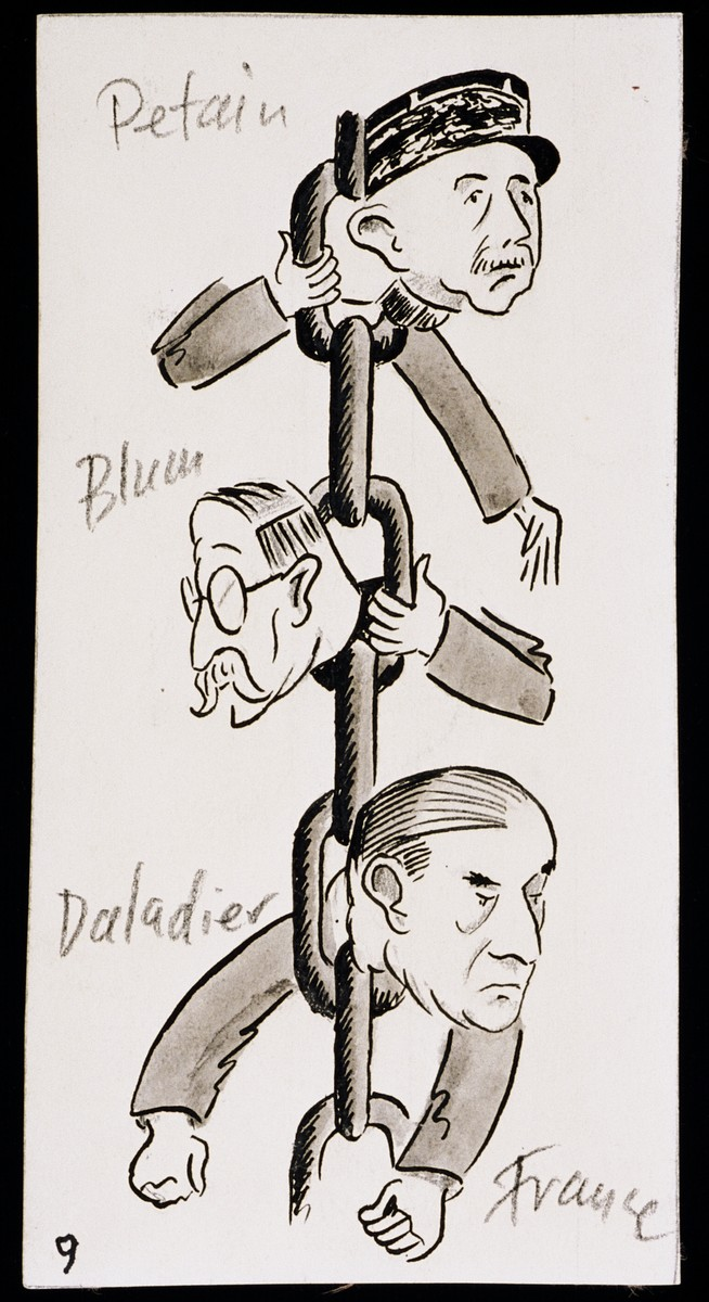"Caricatures of Petain, Blum and Daladier as part of ""World War II Personalities in Cartoons/Originals done for 'La Nacion' Santo Domingo, 1939-1946"" by Klaus Martin Frank."