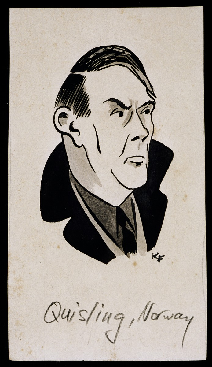 "Caricature of Vidkun Quisling from ""World War II Personalities in Cartoons/Originals done for 'La Nacion' Santo Domingo, 1939-1946"" by Klaus Martin Frank."