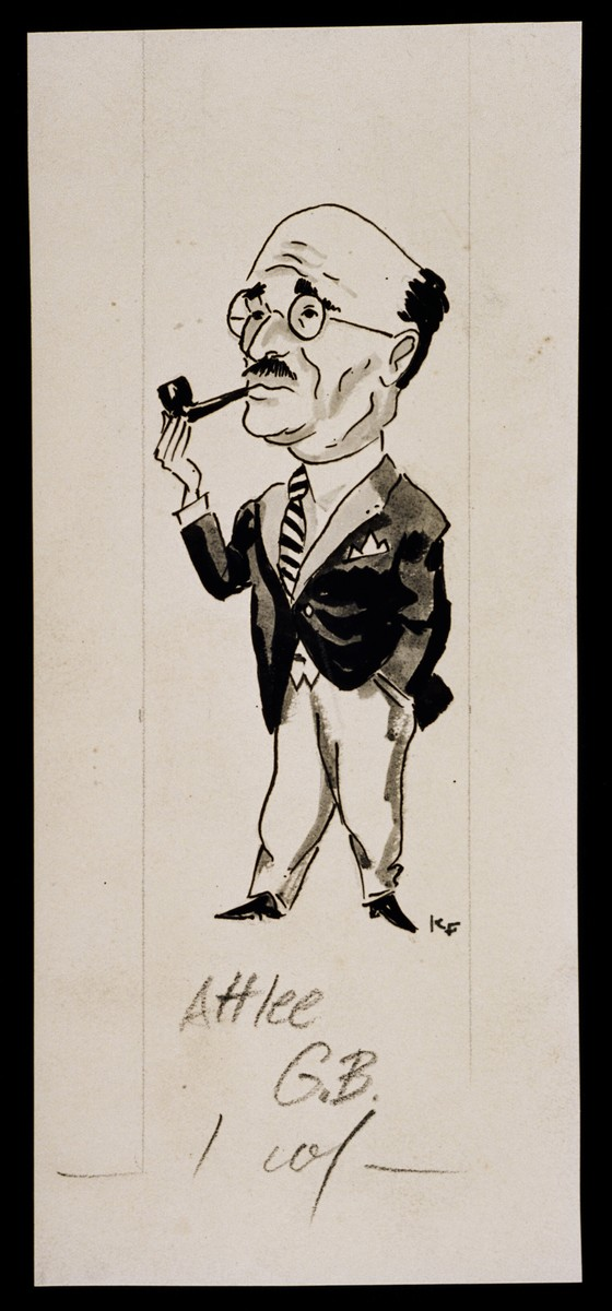 "Caricature of Clement Attlee from ""World War II Personalities in Cartoons/Originals done for 'La Nacion' Santo Domingo, 1939-1946"" by Klaus Martin Frank."